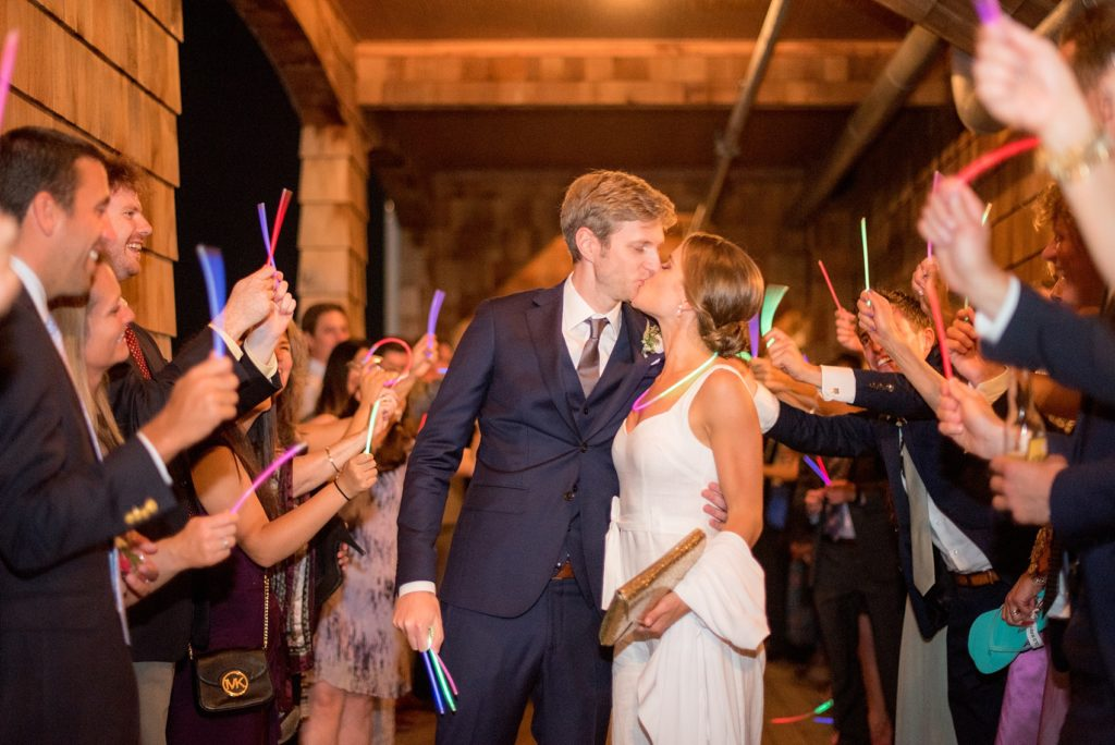Mikkel Paige Photography photo of a glow stick exit for a wedding at Bay Head Yacht Club.