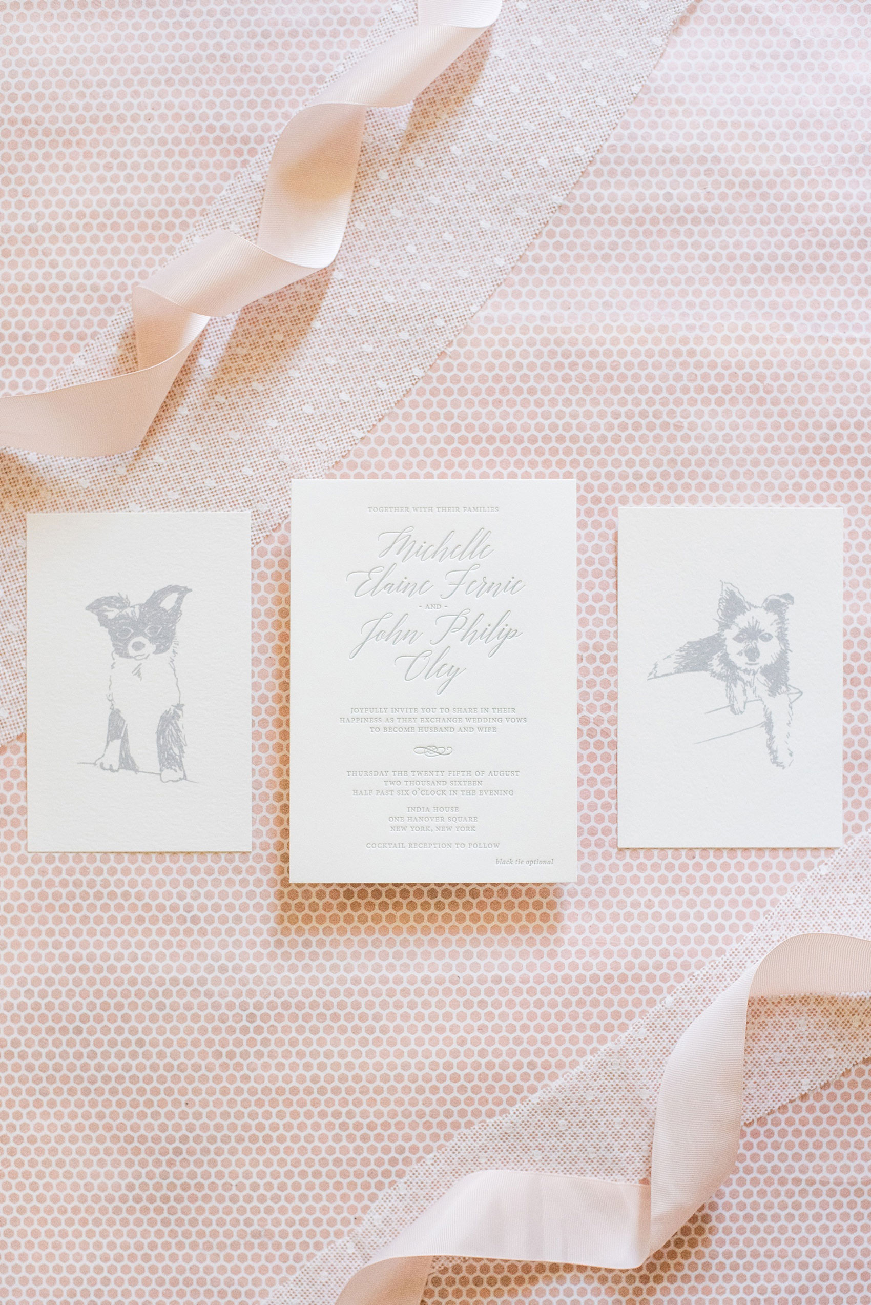 Mikkel Paige Photography captures a luxury wedding in NYC. Custom dog illustrations for the bride and groom's two dogs and a hand calligraphy custom invitation by Paper Studio.