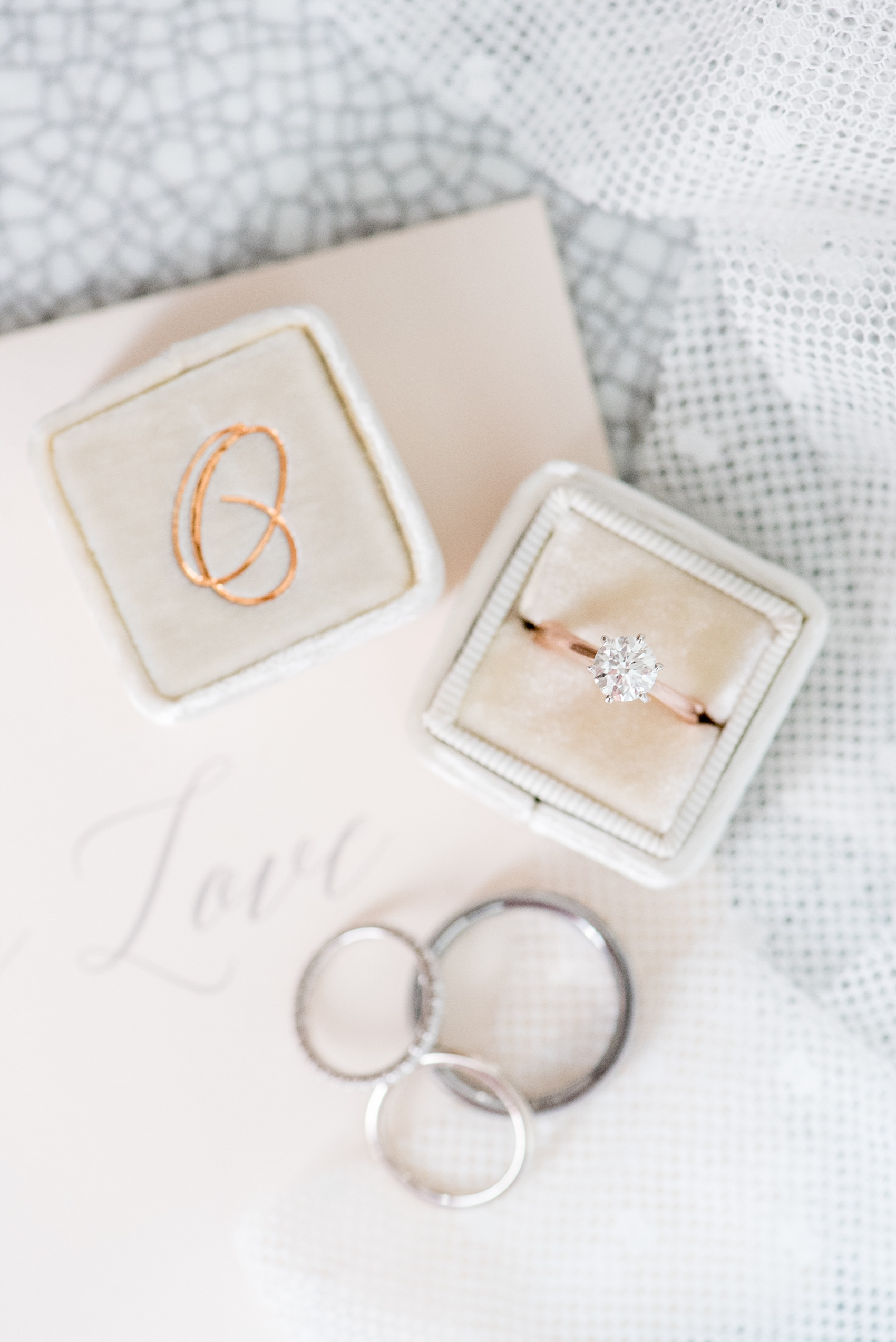 "Mikkel Paige Photography captures a luxury wedding in NYC. Card with calligraphy for the bride and The Mrs. Box with a monogram ""O"" for her solitaire diamond engagement ring."