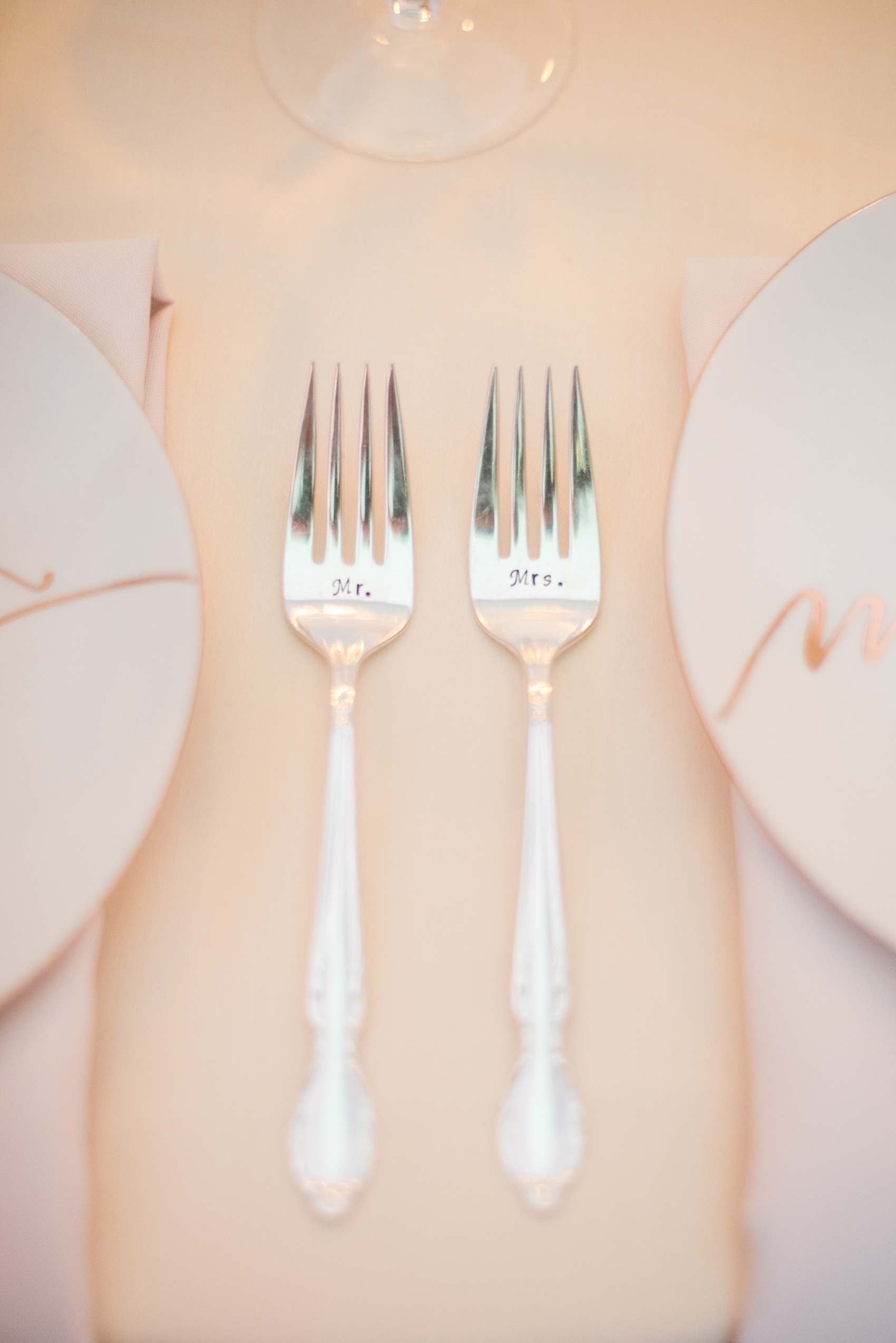 Mikkel Paige Photography photos of a luxury wedding in NYC. Image of couple's custom fork set.
