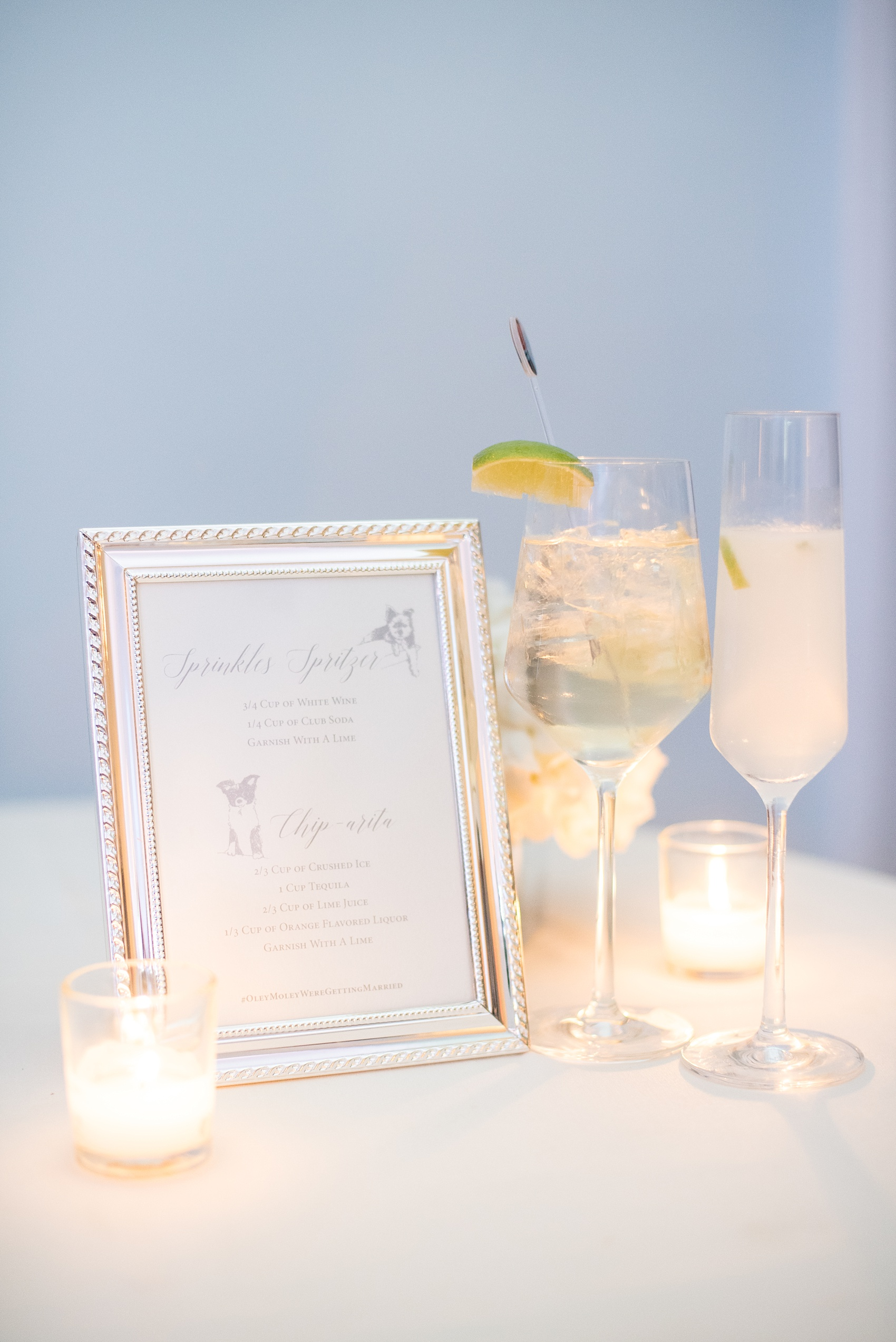 Mikkel Paige Photography photos of a luxury wedding in NYC. Image of the custom calligraphy signature cocktail sign by Paper Studio at an India House reception in lower Manhattan.