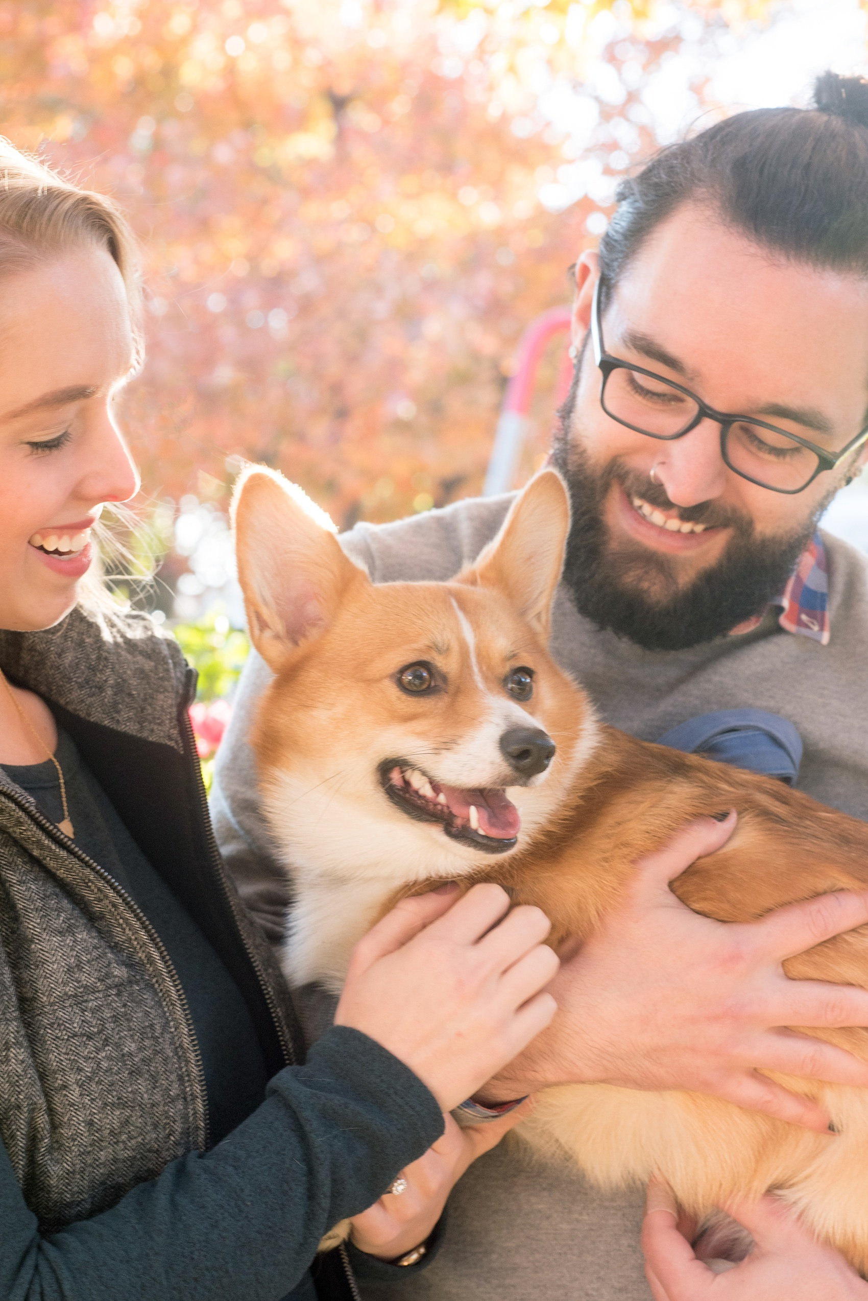 Mikkel Paige Photography photos of a Durham engagement session with the bride and groom's Corgi dog.