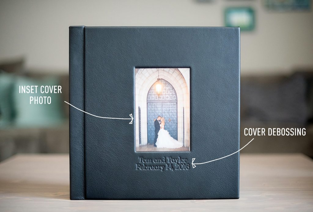 Mikkel Paige Photography wedding album options explained. Debossing cover options for text.