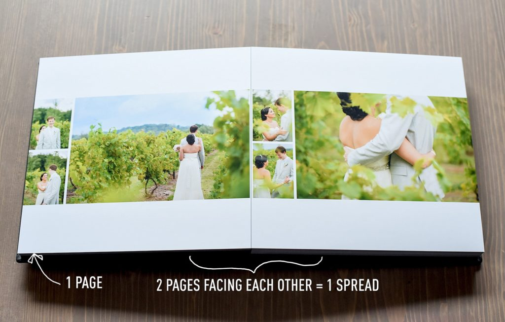 Mikkel Paige Photography wedding album options explained. Spreads and layouts and photo options.