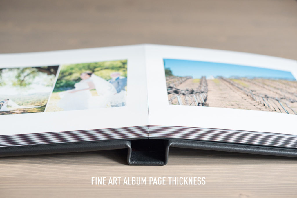 Mikkel Paige Photography wedding album options explained. Page thickness is displayed.