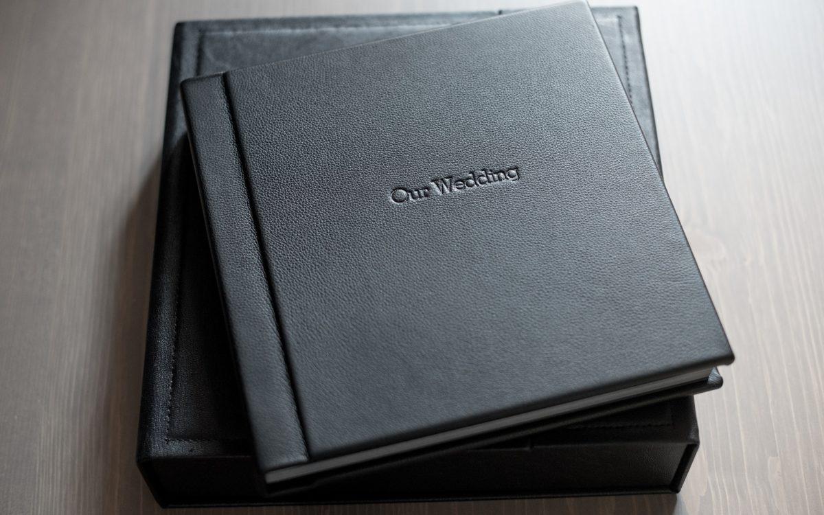 Black Leather Fine Art Wedding Album • Tribeca Rooftop Wedding Photos • Bri + Phil