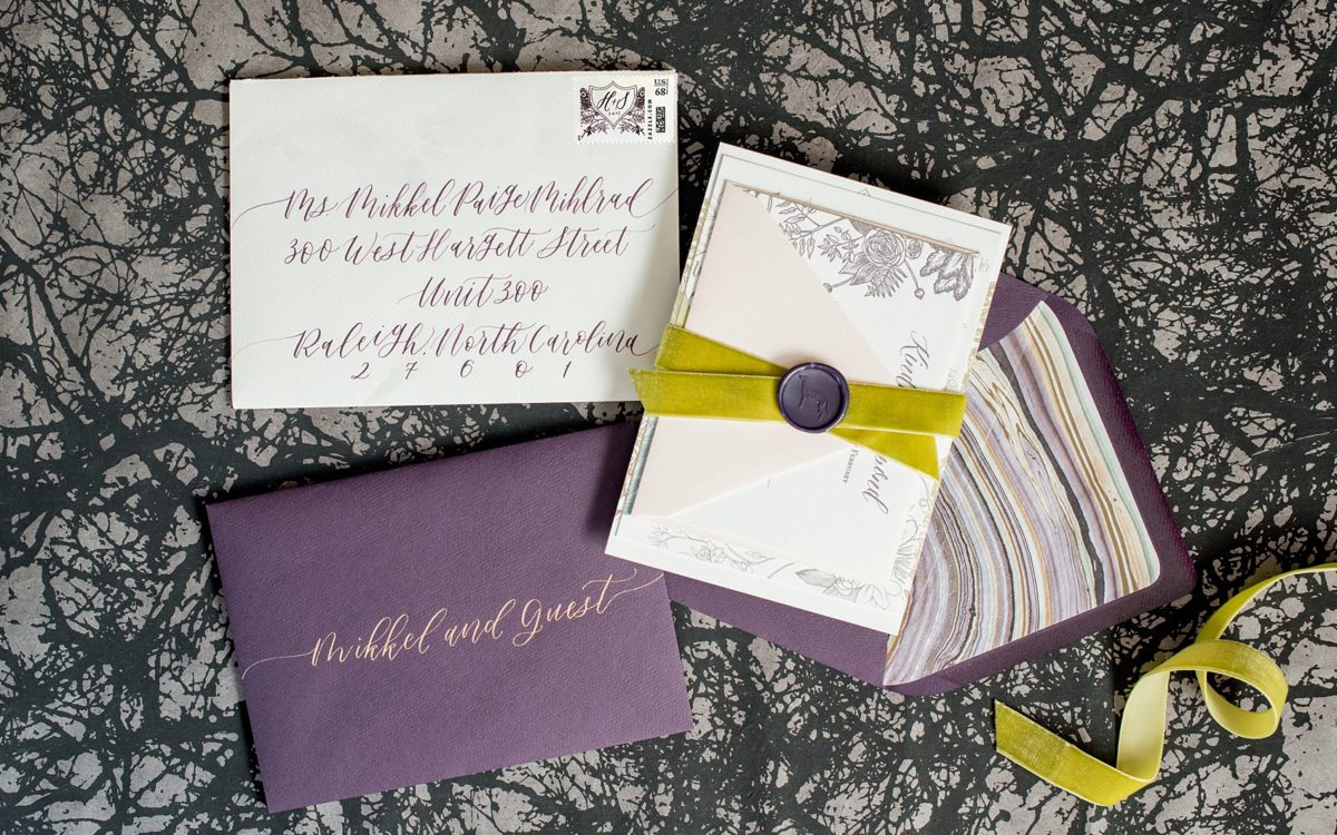 Copper Foil Lavender and Grey Wedding Invitation Suite with Greyhound Dog Wax Seal