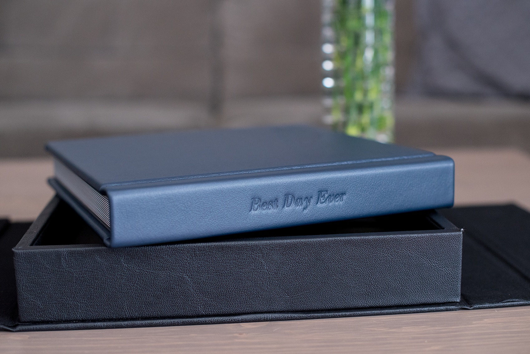 Navy Blue Fine Art Leather Album of a wedding at Merrimon-Wynne House. Photos by Mikkel Paige Photography.