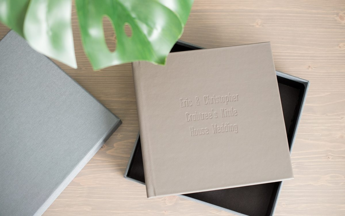 Peppercorn Leather Signature Album • Crabtree's Kittle House • Eric + Christopher