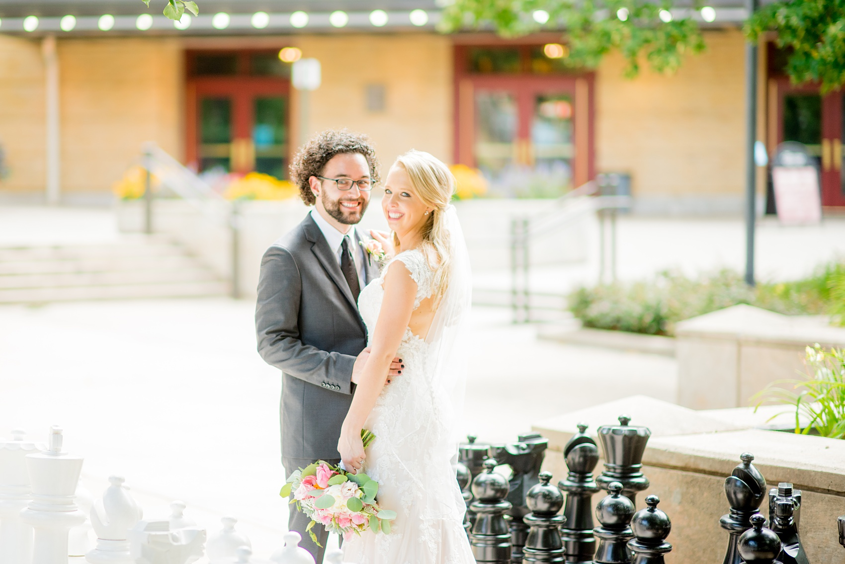 Mikkel Paige Photography photos from a wedding in Durham, North Carolina. Picture of the bride and groom on a giant chess board.