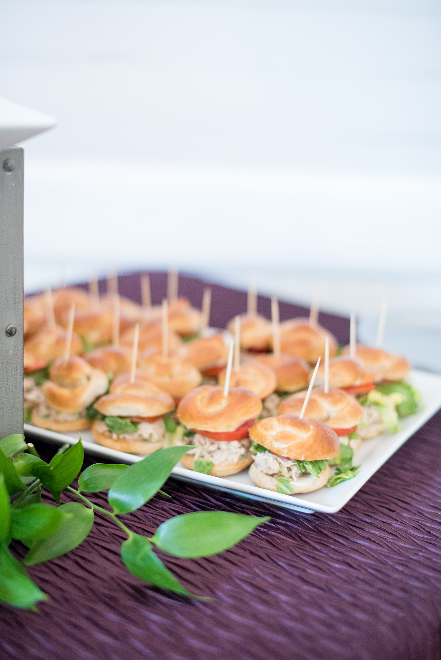Mikkel Paige Photography pictures of a wedding at Leslie-Alford Mim's House in North Carolina for a Mad Dash Weddings event. Photo of elopement finger food sandwiches from Belle's Catering.