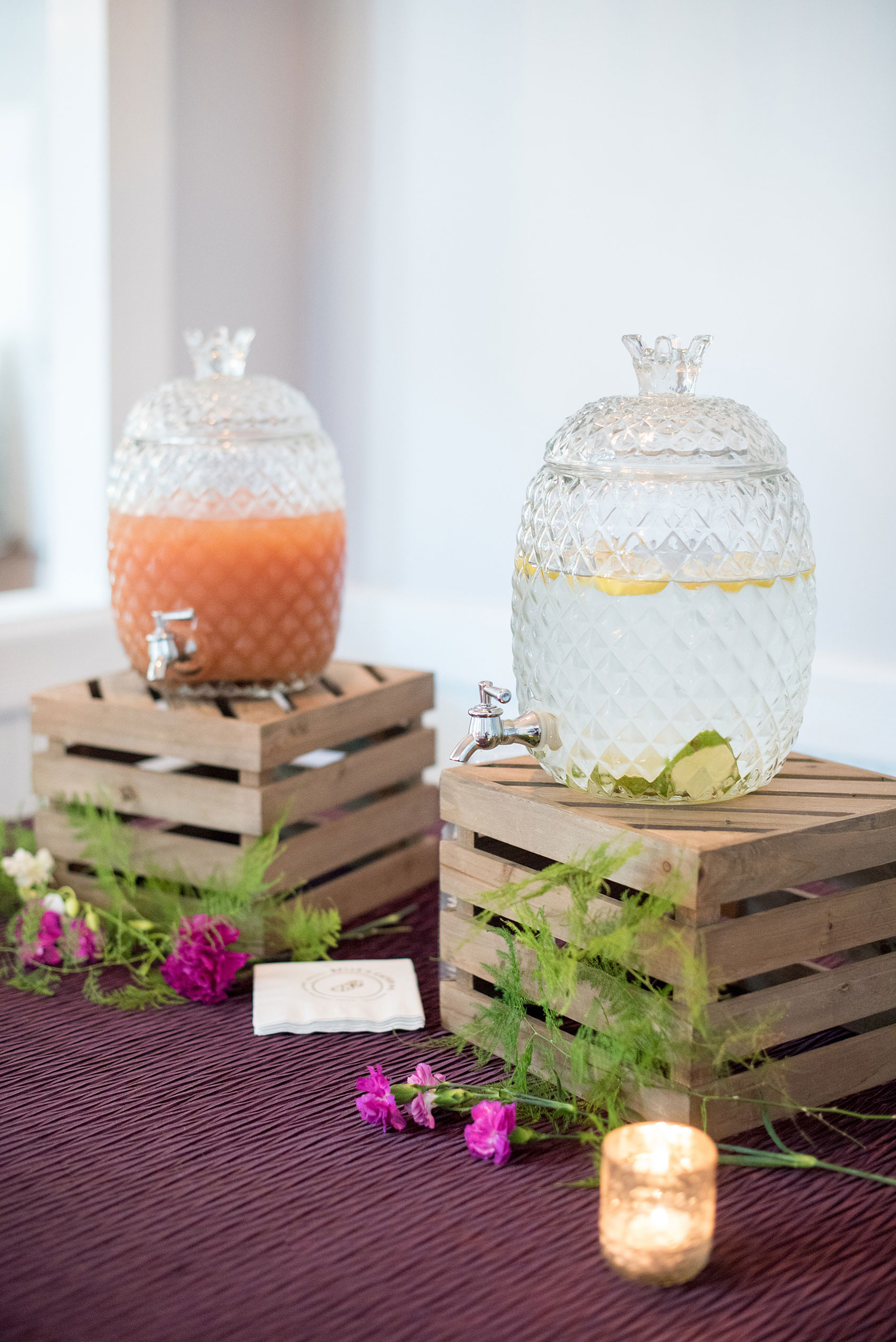 Mikkel Paige Photography pictures of a wedding at Leslie-Alford Mim's House in North Carolina for a Mad Dash Weddings event. Photo of a summer drink station from Belle's Catering.