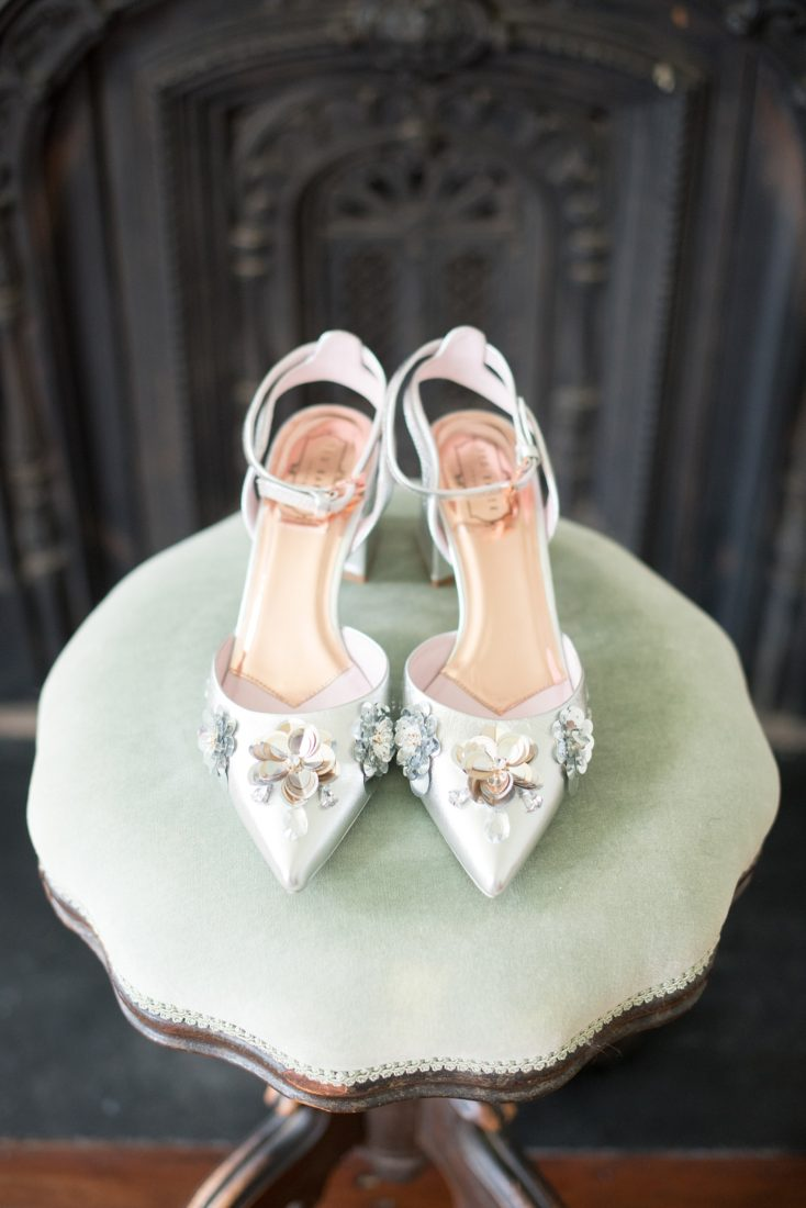 Mikkel Paige Photography photos from a Southwood Estate Wedding in Germantown, New York in the Hudson Valley. Picture of the bride's low heel silver bridal shoes with sequins.