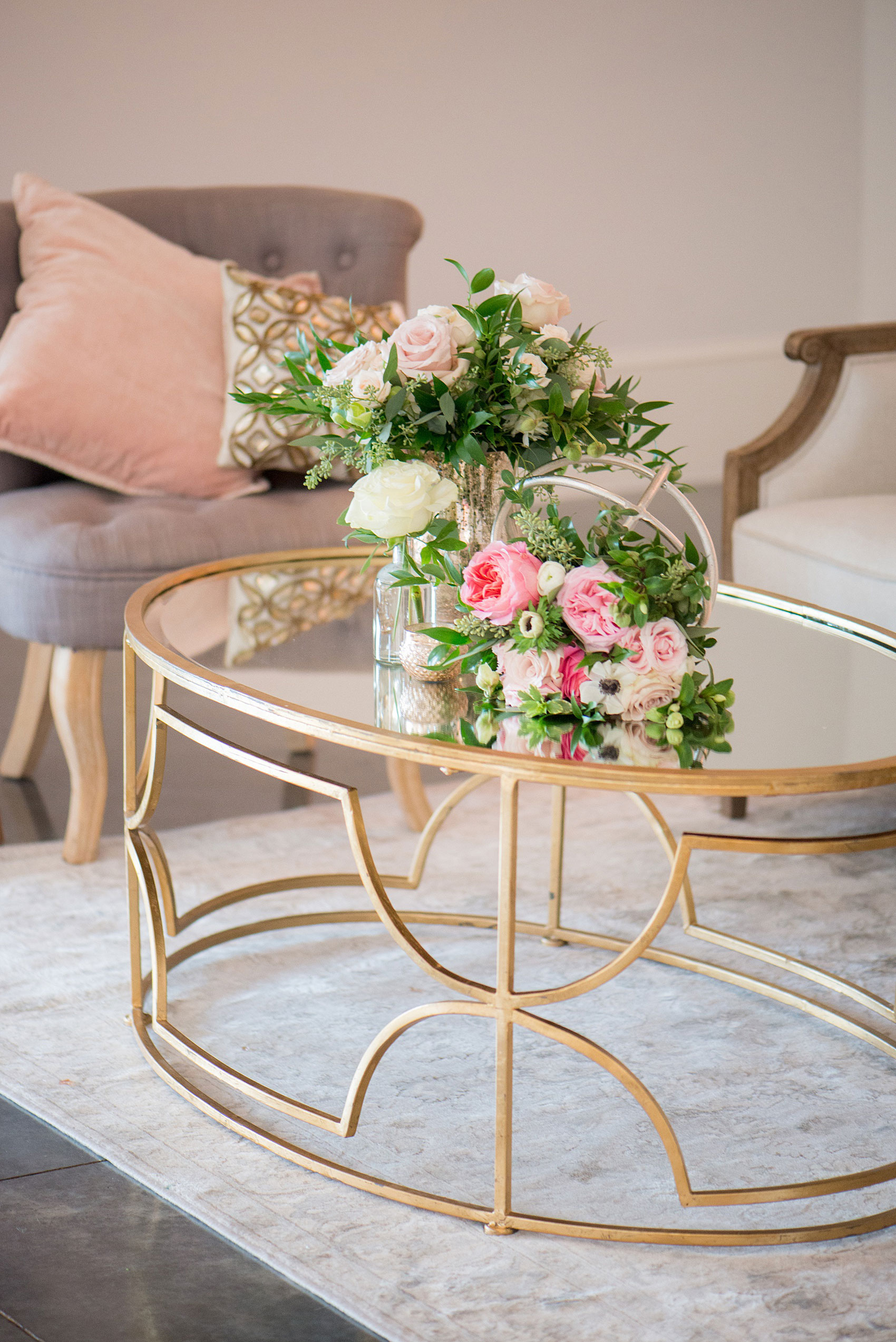 Mikkel Paige Photography pictures from a wedding at Merrimon-Wynne House in Raleigh, NC. Photo of the lounge coffee table inside the reception dancing area.