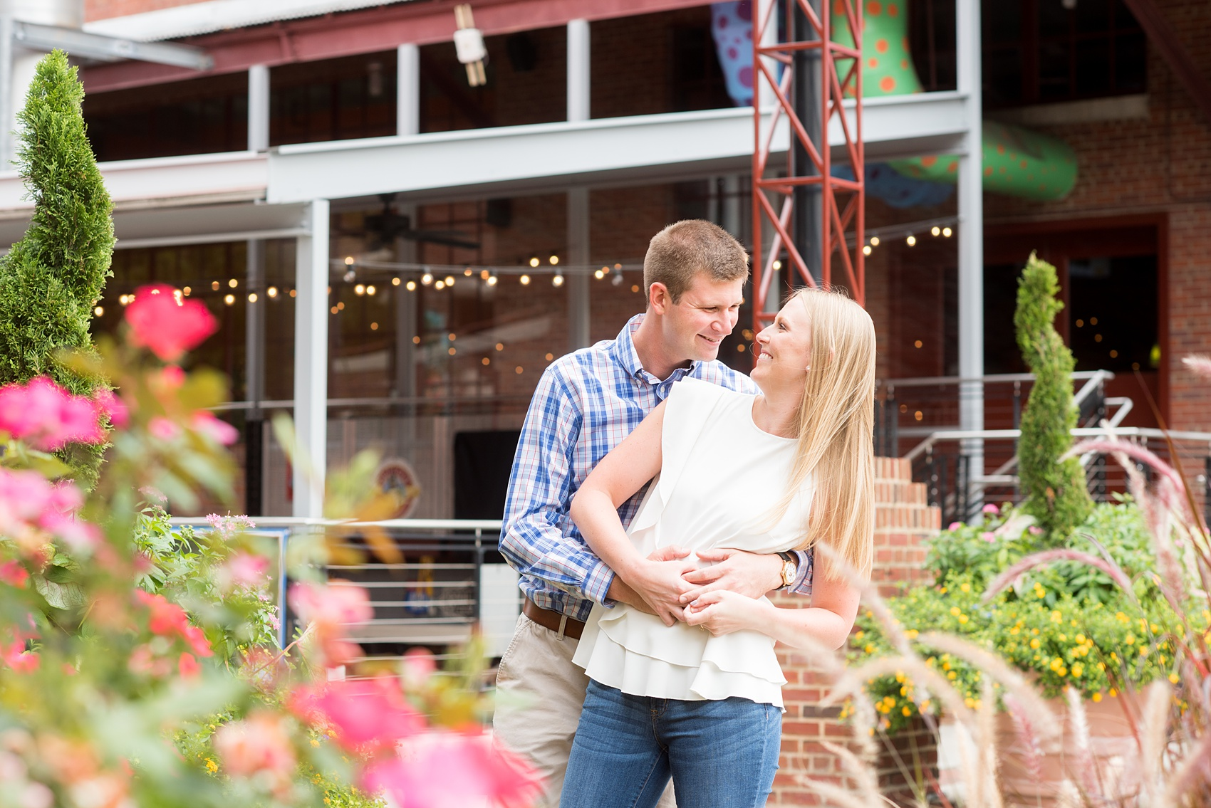 Mikkel Paige Photography images from an engagement session at Durham's American Tobacco Campus in North Carolina.