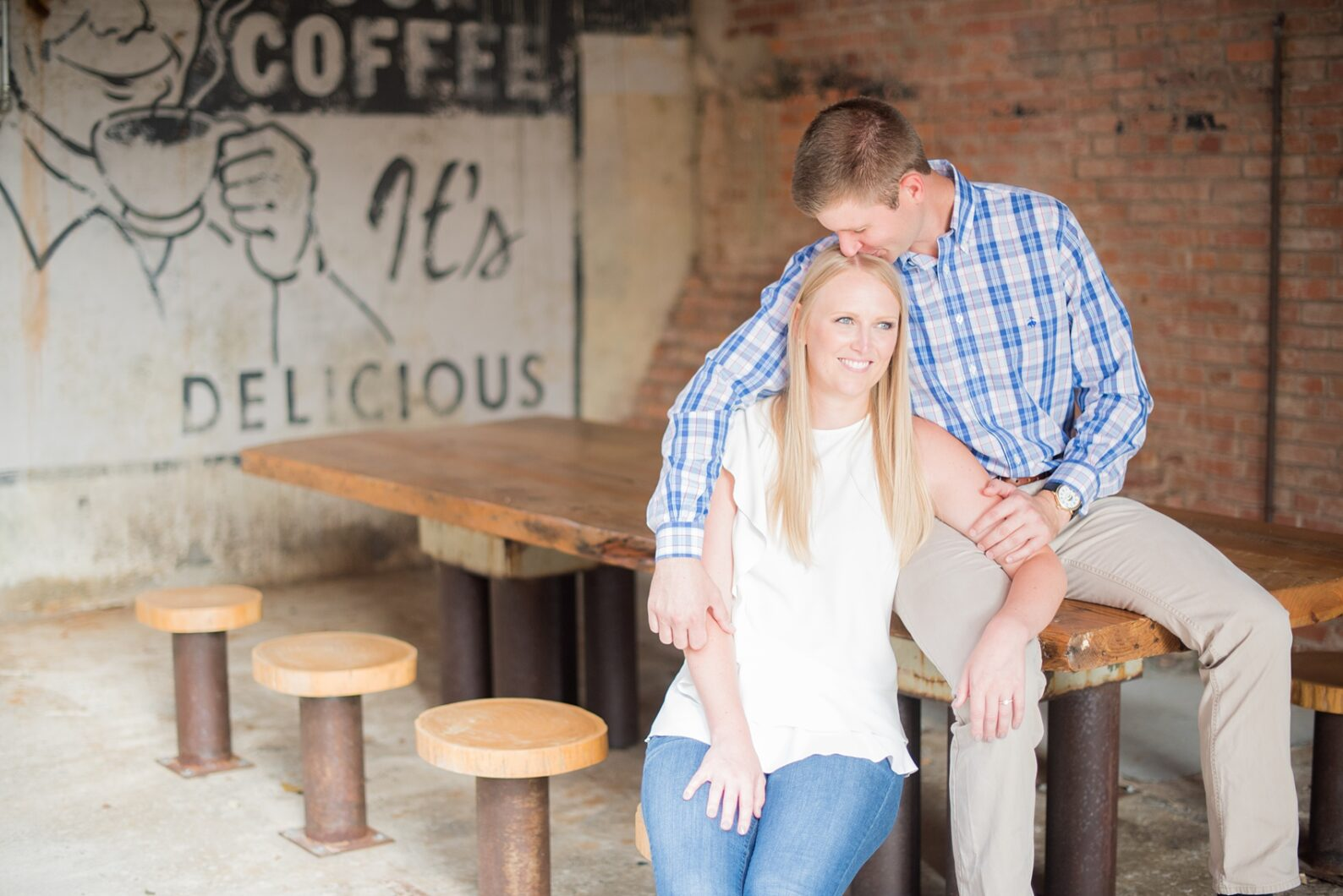 Mikkel Paige Photography photos from an engagement session at Durham's American Tobacco Campus in North Carolina.