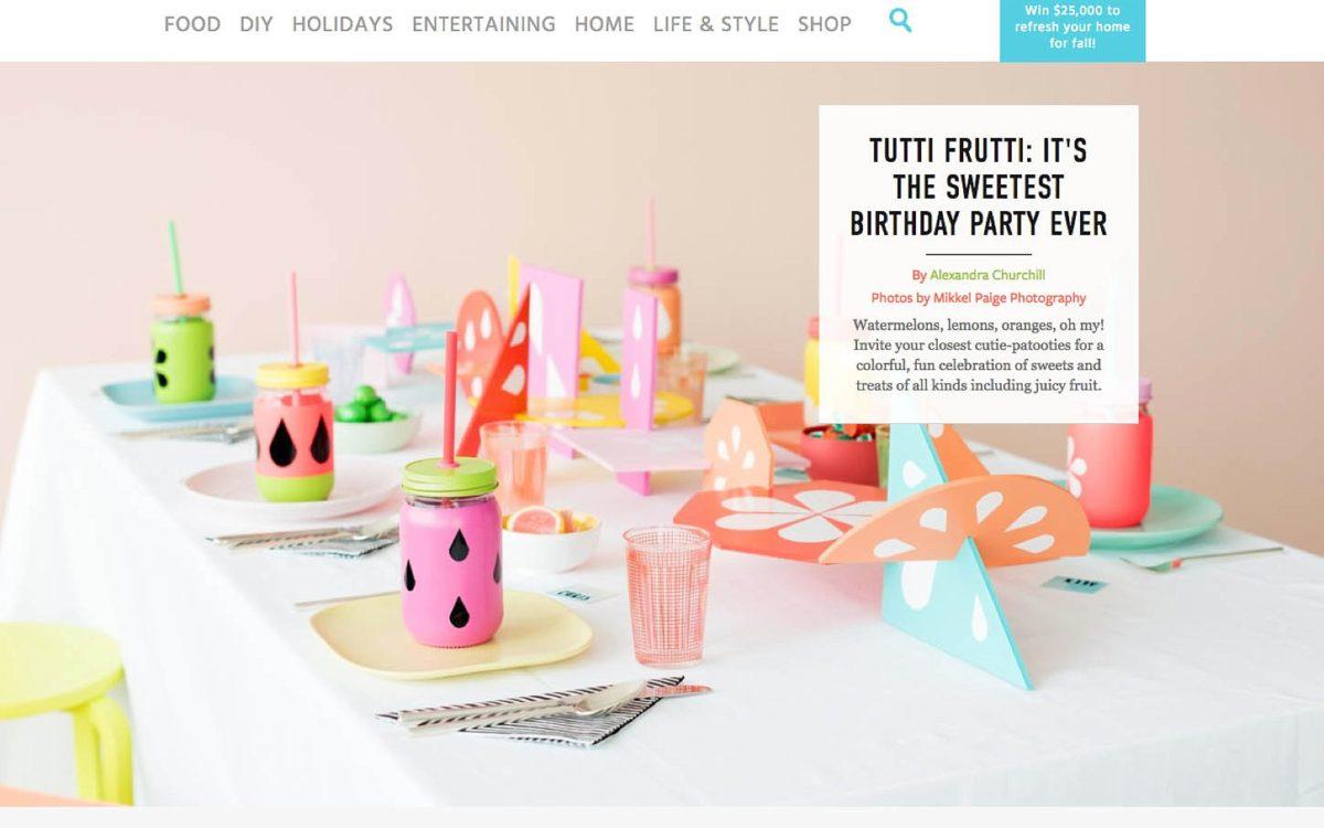 Featured: Colorful Tutti Frutti Party on Martha Stewart