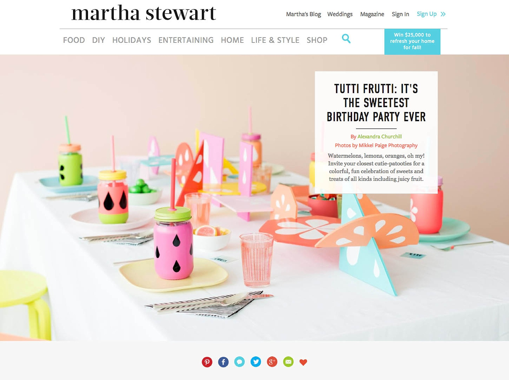 Colorful Tutti Frutti Party on Martha Stewart