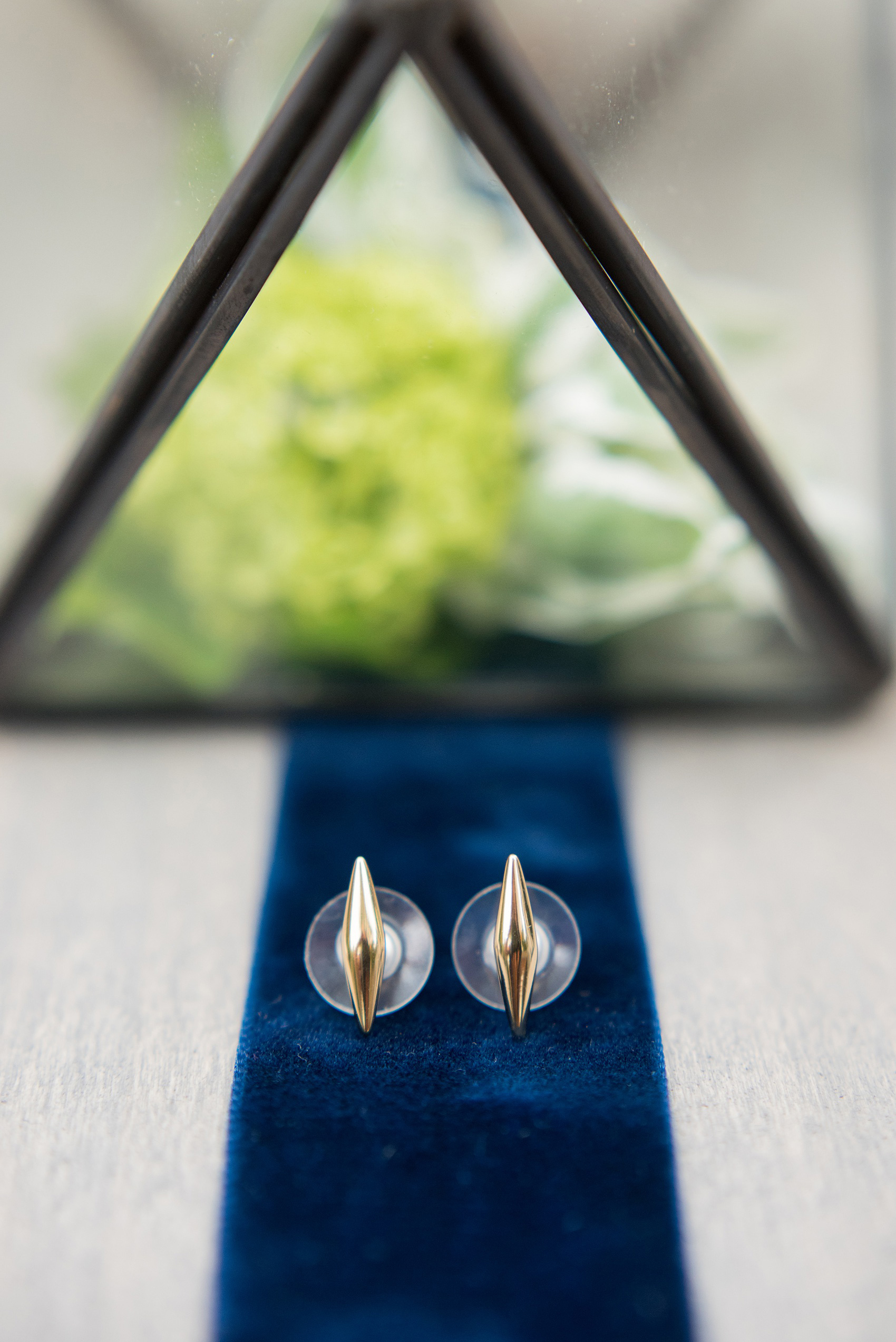 Mikkel Paige Photography photos from a wedding at Leslie-Alford Mims House in North Carolina. Picture of the bride's gold edgy stud earrings.