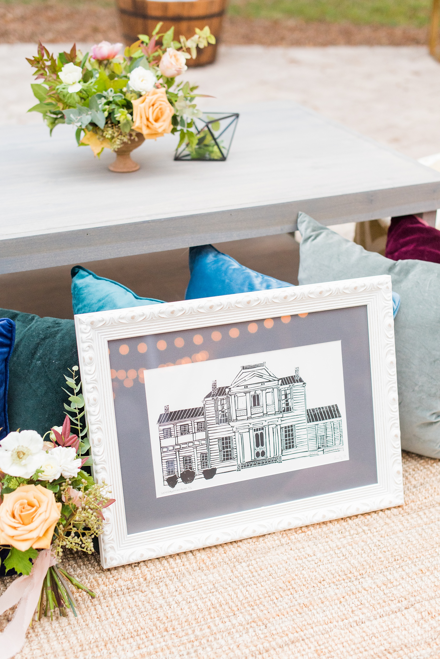 Mikkel Paige Photography photos from a wedding at Leslie-Alford Mims House in North Carolina. Picture of a linocut print the bride had made for their invitations, then framed for the historic venue.