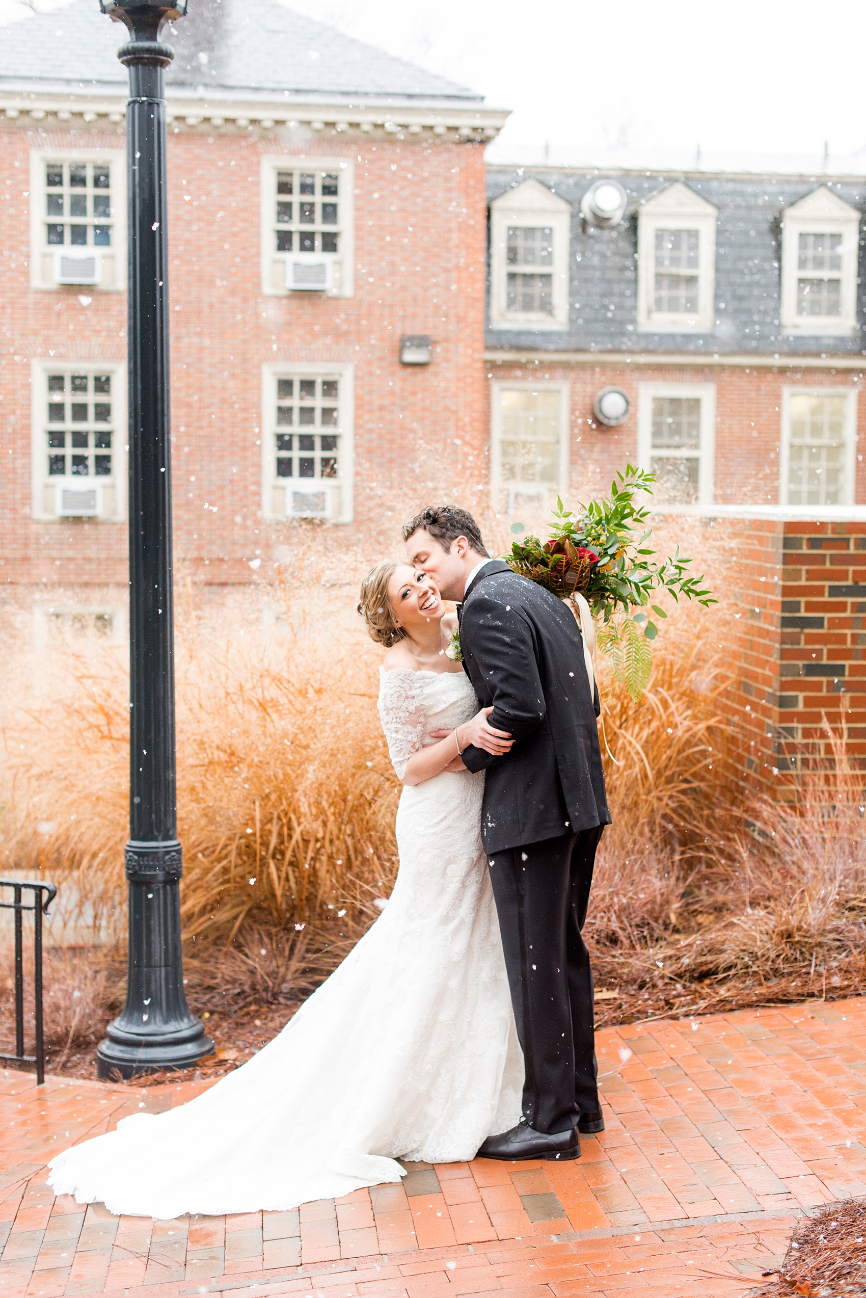 Beautiful wedding photos at The Carolina Inn at Chapel Hill, North Carolina by Mikkel Paige Photography. This snowy wedding is definitely click-worthy to see all their amazing details!