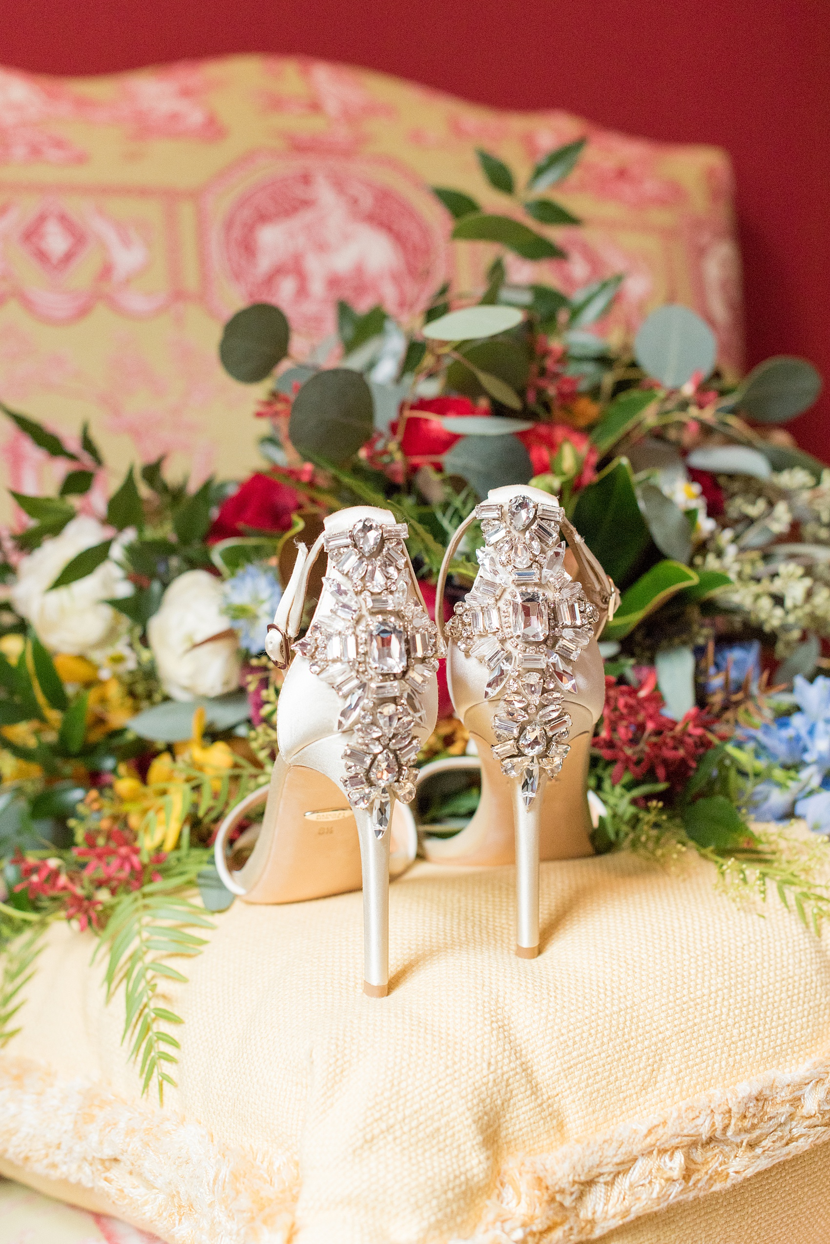 Beautiful wedding photos at The Carolina Inn at Chapel Hill, North Carolina by Mikkel Paige Photography. Detail photo of the bride's sparkly wedding shoe heels.