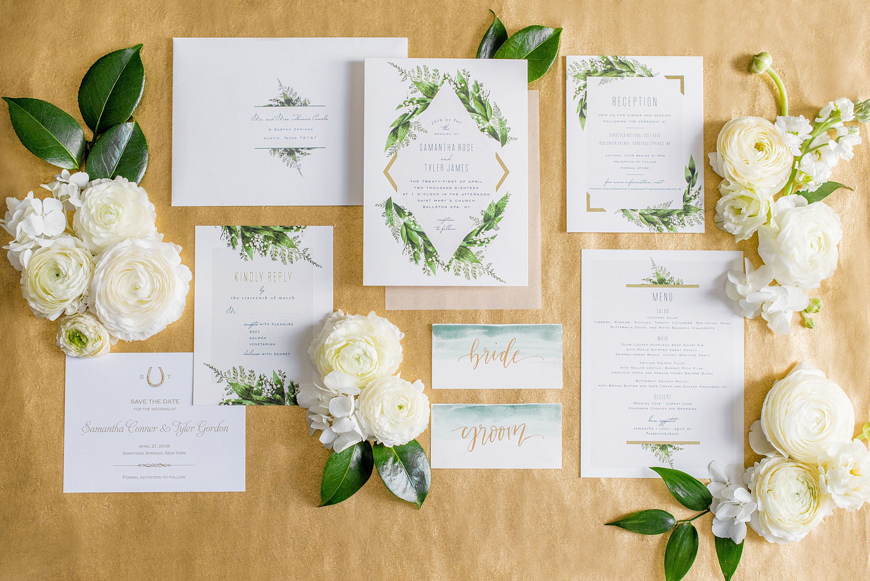 Saratoga springs ny destination wedding photos by mikkel paige photo of a green invitation in a flower lay flat picture by mikkel paige photography for mightylinksfo