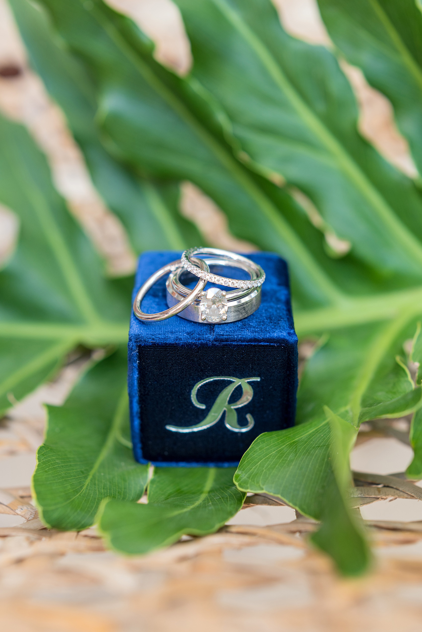 If you're planning a destination wedding Casa de Campo in the Dominican Republic is a great location. It's in La Romana, an hour from Punta Cana, and is an all inclusive resort with Minitas beach and mountains view. It's a beautiful venue, evidenced by these pictures by Mikkel Paige Photography. Click through for detail ideas like this velvet ring box + tropical leaf photo! Coordination by @theeventeur. #mikkelpaige #bluewedding #themrsbox #velvetringbox #ringphotos #weddingdetails