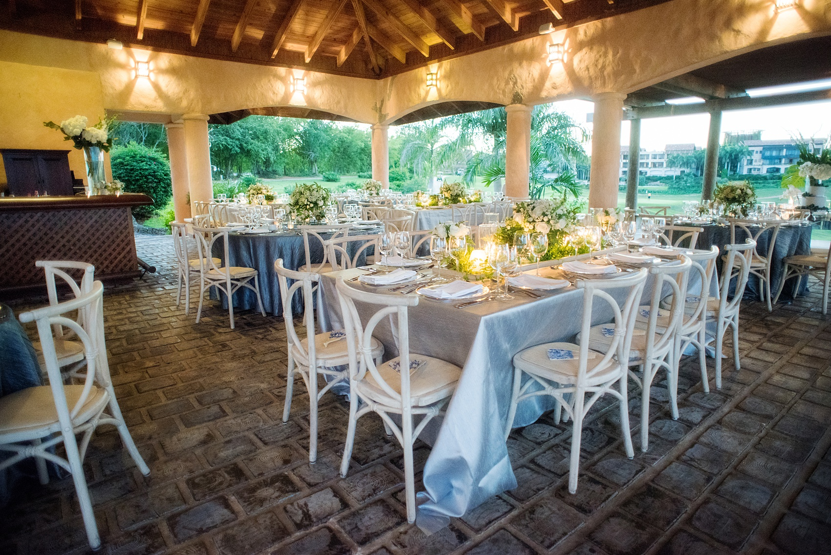 Casa de Campo in the Dominican Republic is a great location for a destination wedding. It's in La Romana, an hour from Punta Cana, and is an all inclusive resort with Minitas beach and mountains view. It's a beautiful venue, evidenced by these pictures by destination wedding photographer, Mikkel Paige Photography. Click through for more blue + white ceremony and reception ideas! Planning by @theeventeur. #mikkelpaige #bluewedding #dominicanrepublicwedidng #destinationweddingphotographer