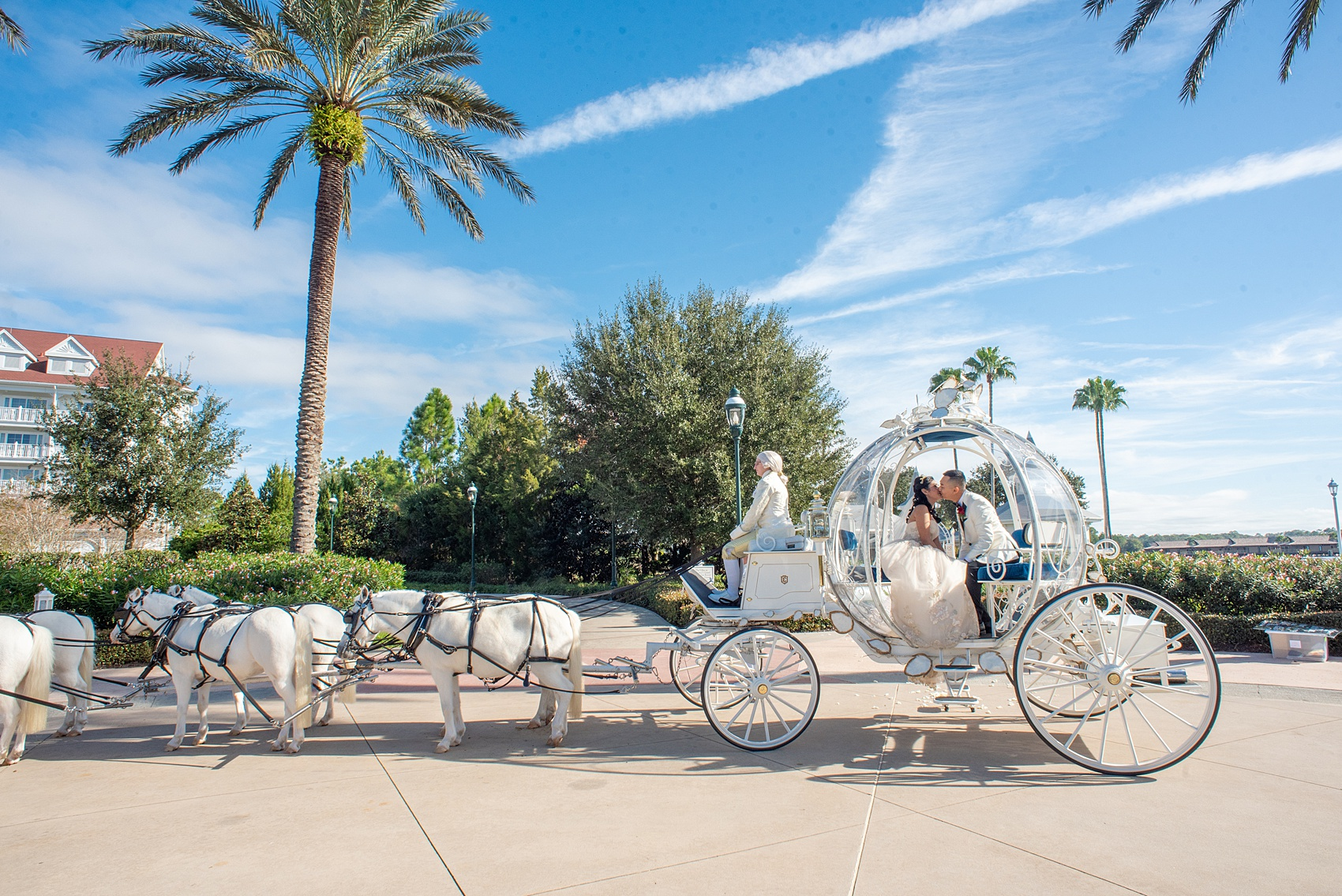 Walt Disney World photographs by Mikkel Paige Photography. The bride and groom celebrated to their ceremony in style in Cinderella's Glass Coach with white ponies. They took pictures at the Grand Floridian Resort and Wedding Pavilion with this awesome transportation. #disneywedding #disneybride #waltdisneyworld #DisneyWorldWedding #CinderellaCarriage #GlassCoach