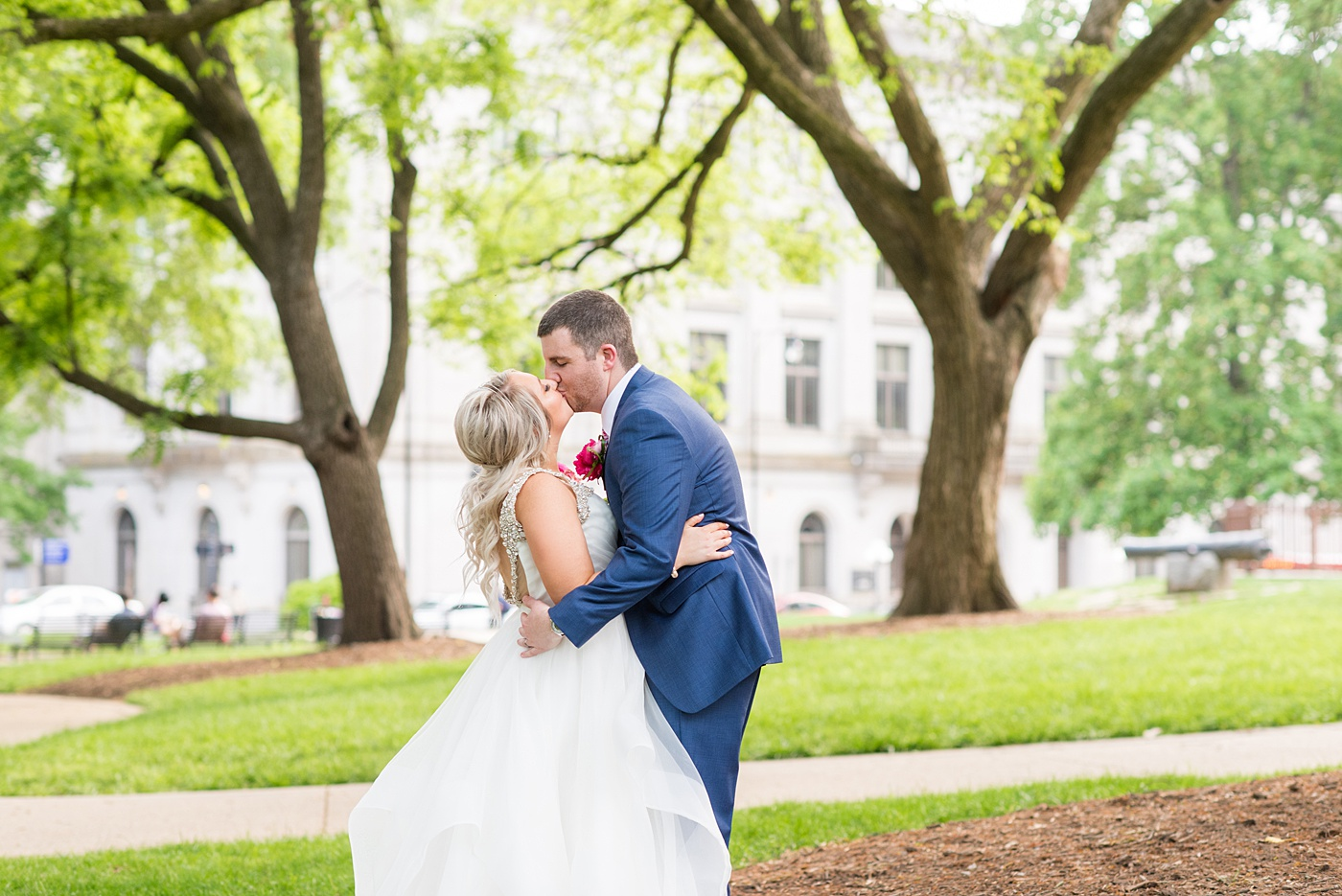 A beautiful spring wedding in downtown Raleigh, North Carolina, at the event venue, The Stockroom at 230 and The Glass Box. Their photographer, Mikkel Paige Photography, captured inspiring bride, groom and wedding portraits and reception pictures of their hot pink and aqua blue colors. #MikkelPaige #DowntownRaleigh #RaleighWedding #RaleighVenue #TheStockroomat230