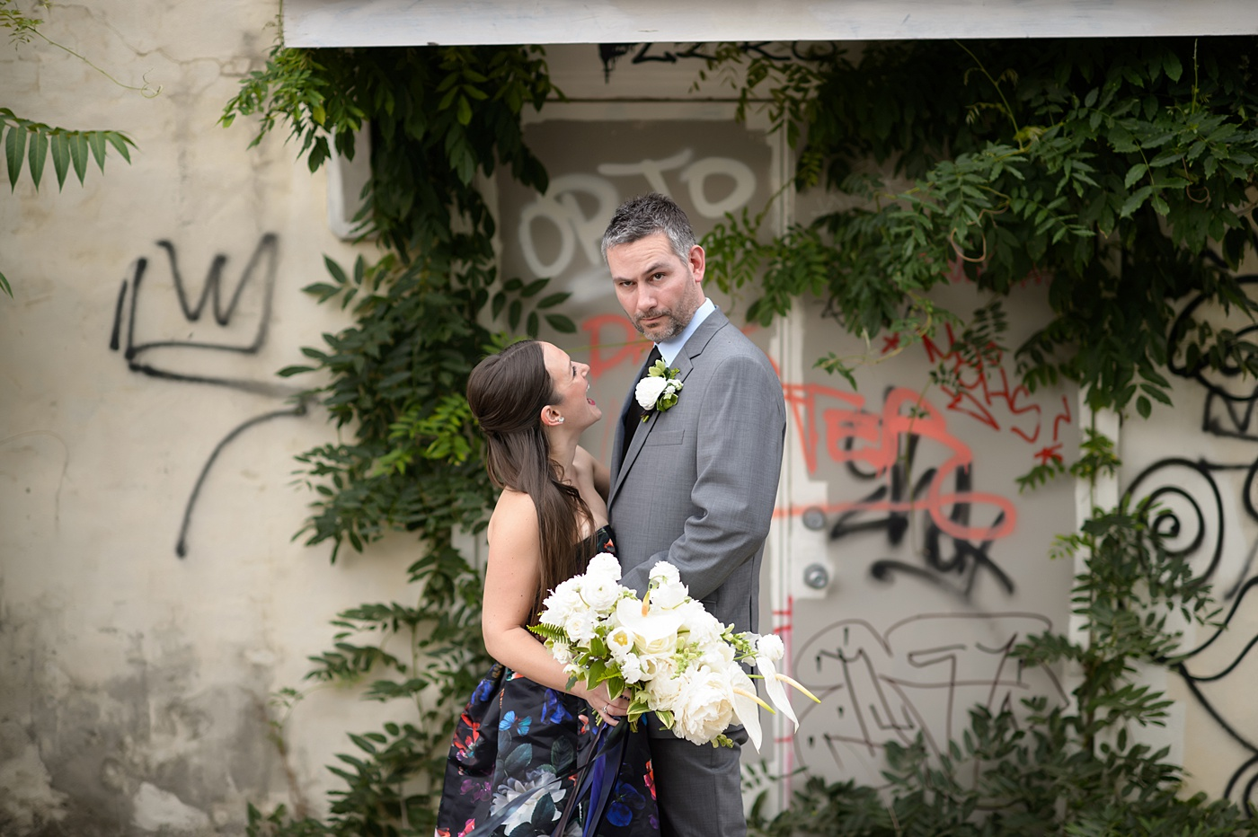 Raleigh, North Carolina Wedding Photographer, Mikkel Paige's elopement, photographed by Brian Mullins Photography. Flowers by @meristemfloral. Black floral gown from Parker. Beauty by Wink Hair and Makeup. Ring by Susie Saltzman.