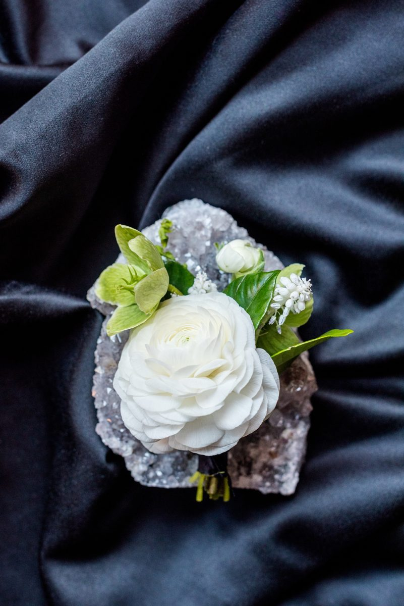 Mikkel Paige Photography's wedding photos - an elopement in downtown Raleigh, North Carolina - with a white bouquet by @meristemfloral, beauty by Wink Hair and Makeup and detail photos by Mikkel Paige Photography.