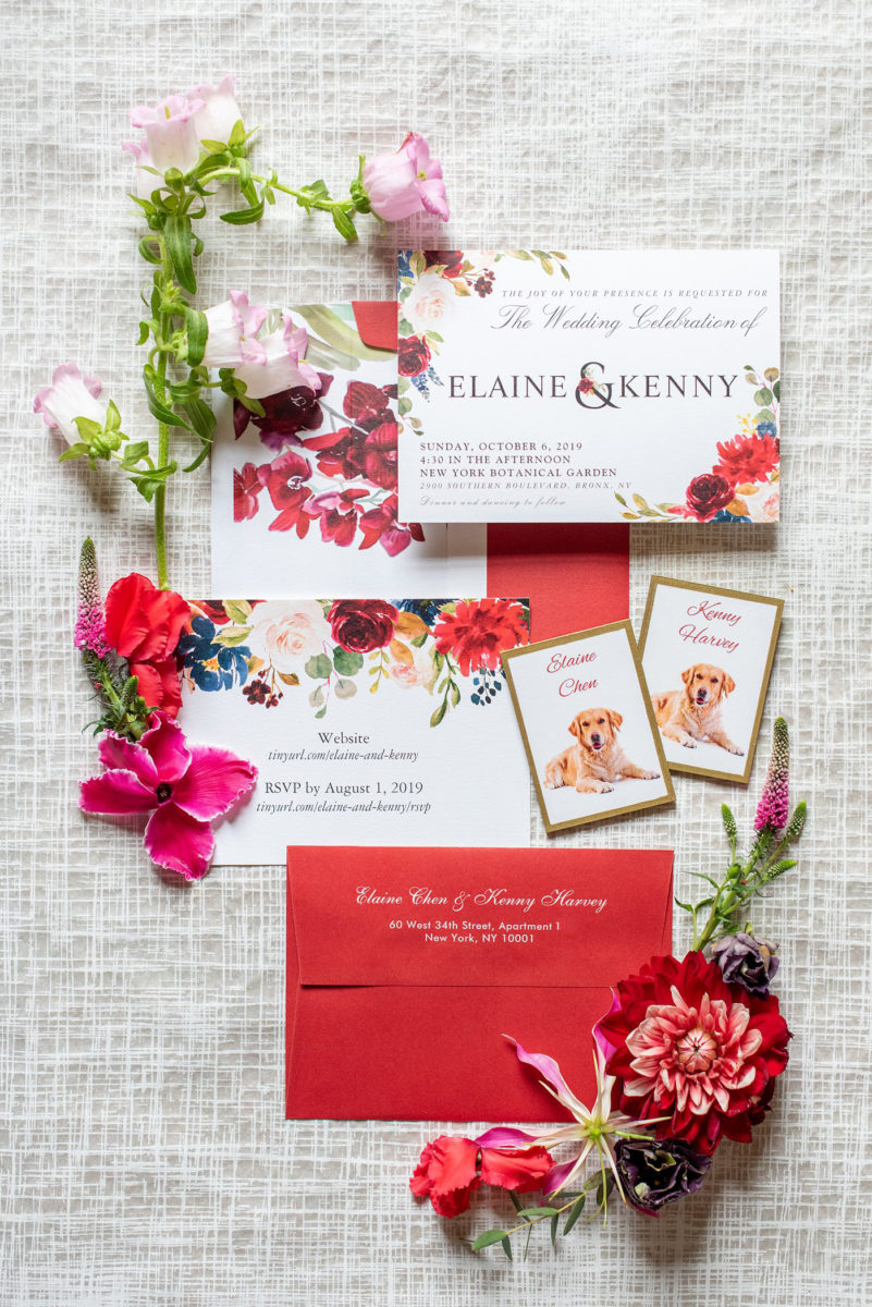 New York Botanical Garden wedding photos by Mikkel Paige Photography. The couple had red inspired details and an invitation to match. After the couple's engagement photoshoot in Manhattan I was so excited for their fall wedding near the Conservatory at the Terrace Room, at this NYC venue. #mikkelpaige #nybg #asianbride #redweddinginvitation #brideandgroom #newyorkbotanicalgardenwedding #NYBotanicalGarden #Bronxwedding #newyorkcityweddingvenue #weddingstationery #detailphotos