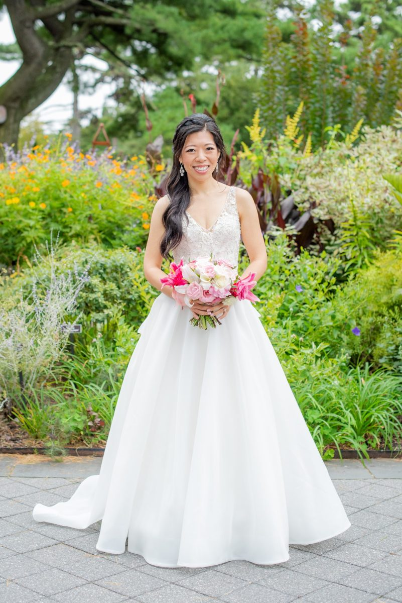 New York Botanical Garden wedding photos by Mikkel Paige Photography. After the couple's engagement photoshoot in Manhattan I was so excited for their fall wedding near the Conservatory at the Terrace Room, at this NYC venue. The bride wore a beaded ballgown dress with half up hair do. #bridestyle #mikkelpaige #nybg #newyorkbotanicalgardenwedding #asianbride #NYBotanicalGarden #Bronxwedding