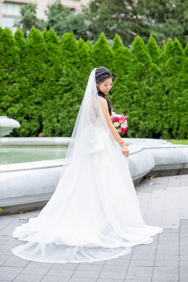 New York Botanical Garden wedding photos by Mikkel Paige Photography. After the couple's engagement photoshoot in Manhattan I was so excited for their fall wedding near the Conservatory at the Terrace Room, at this NYC venue. The bride wore a beaded ballgown dress. with half up hair do. #bridestyle #mikkelpaige #nybg #newyorkbotanicalgardenwedding #asianbride #NYBotanicalGarden #Bronxwedding
