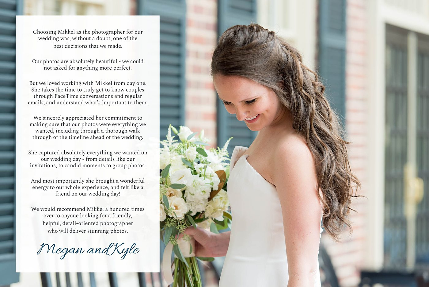 Destination wedding photographer, Mikkel Paige Photography, testimonials and reviews from luxury wedding clients.