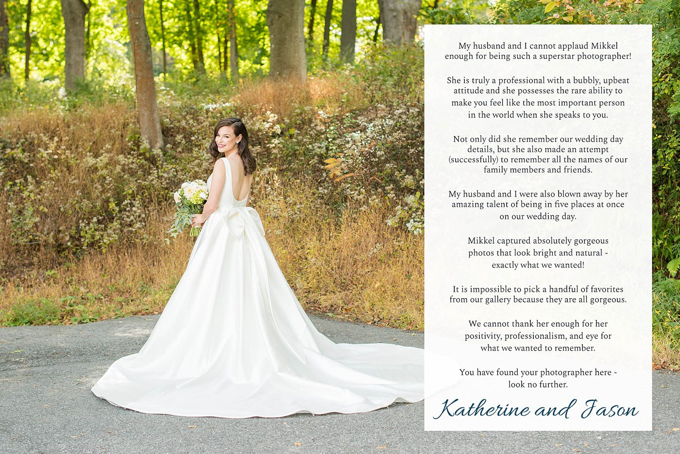 Destination wedding photographer, Mikkel Paige Photography, testimonials and reviews from luxury wedding clients at Crabtree's Kittle House in New York.