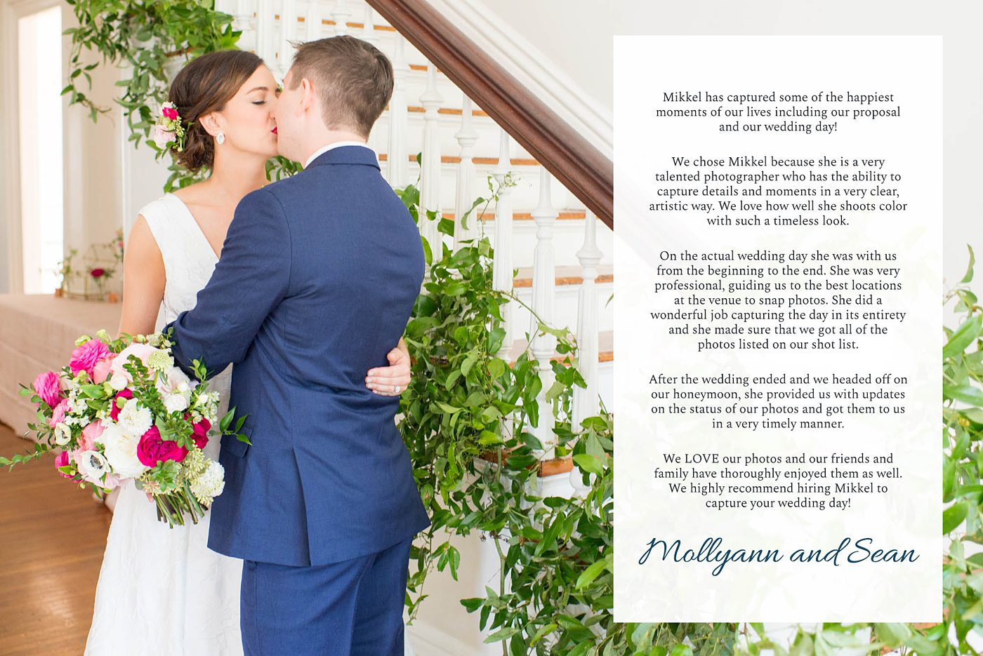 Destination wedding photographer, Mikkel Paige Photography, testimonials and reviews from luxury wedding clients at Merrimon-Wynne House in Raleigh, North Carolina.