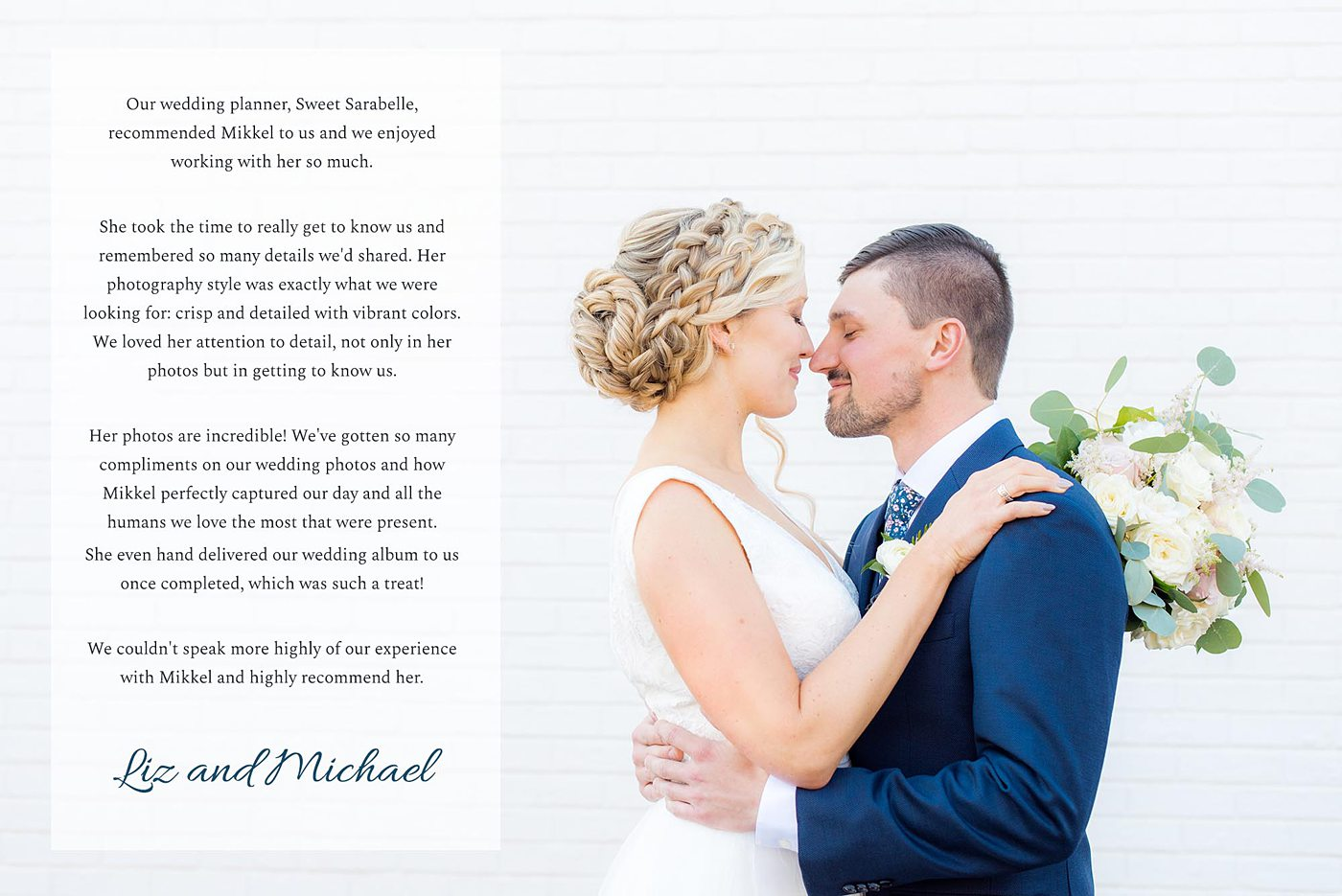 Destination wedding photographer, Mikkel Paige Photography, testimonials and reviews from luxury wedding clients at in Cary, North Carolina.
