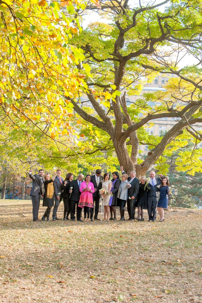 A small Brooklyn wedding elopement in NYC during Fall. Photos by Mikkel Paige Photography with a ceremony held at Fort Greene Park.