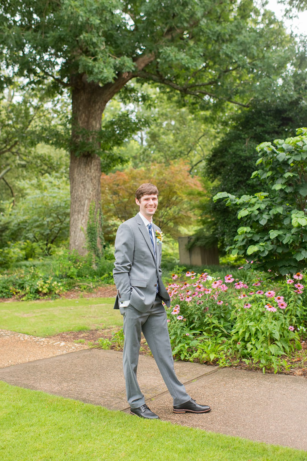 The groom after his small outdoor ceremony in a park in Raleigh, North Carolina. Photographed by Mikkel Paige Photography. #mikkelpaige #groomstyle #raleighnc