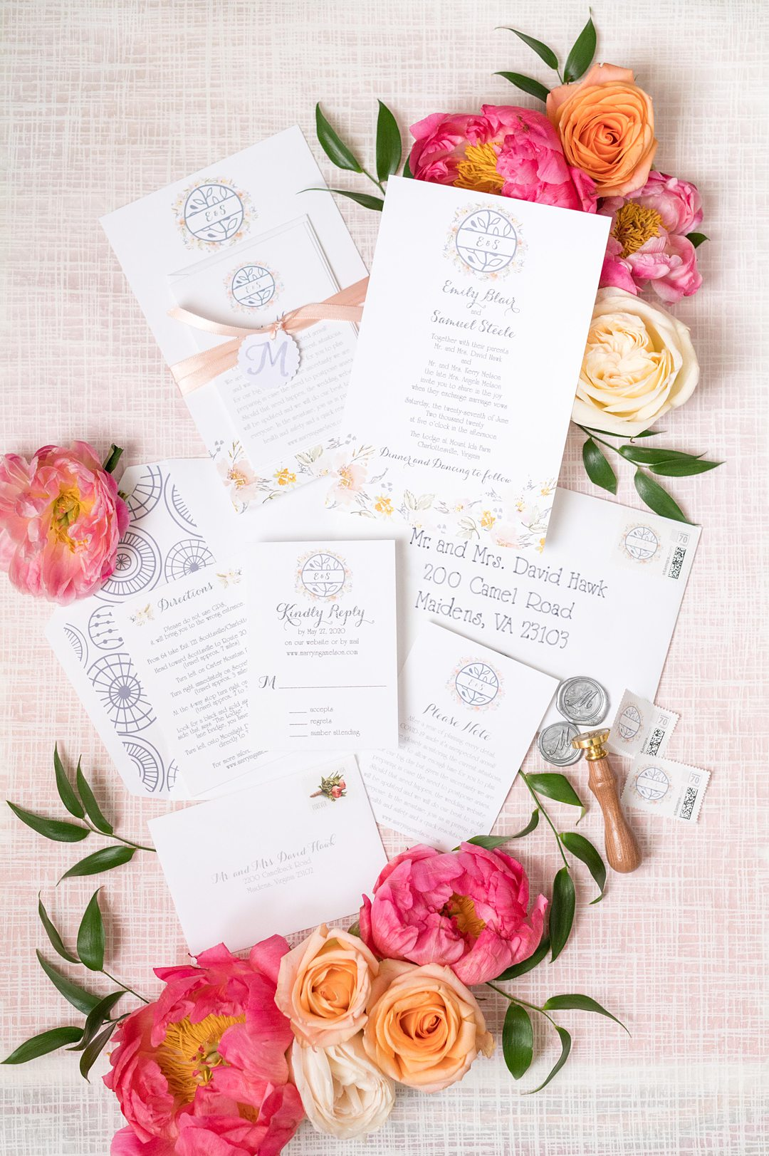 Invitation suite for a pink and blue summer wedding at The Lodge at Mount Ida Farm, in Charlottesville, Virginia. This small wedding was photographed by Mikkel Paige Photography.