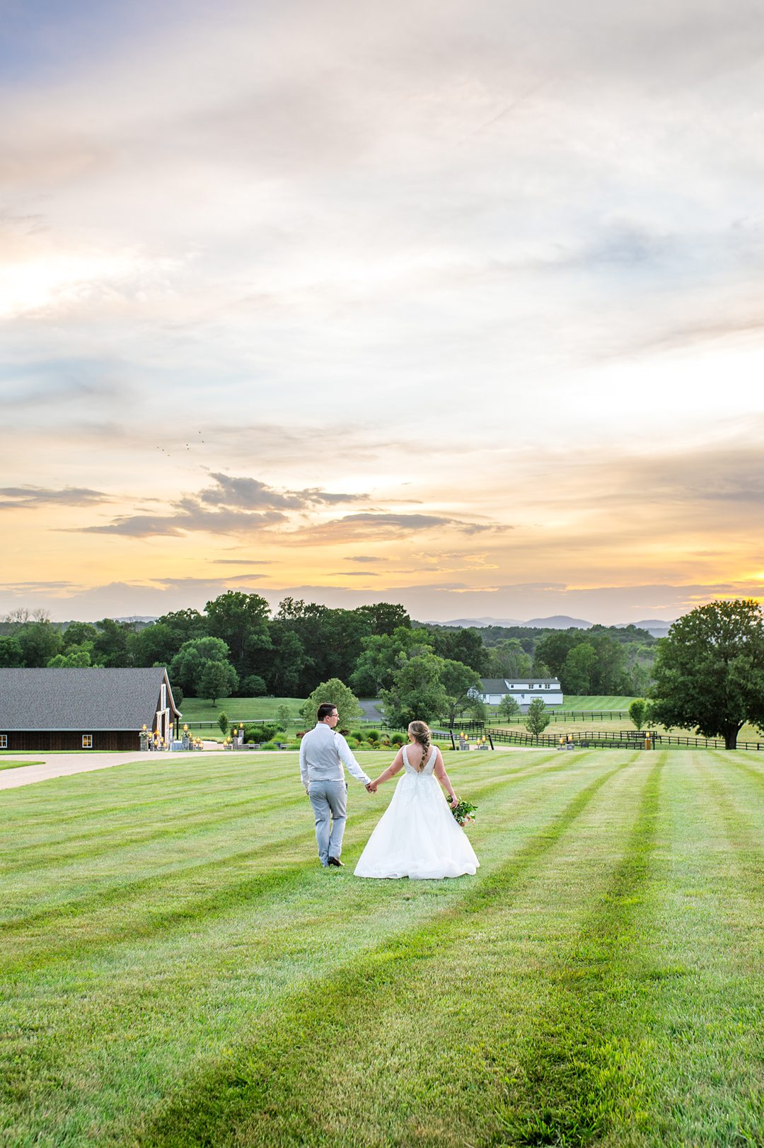 Sunset photo at the Lodge at Mount Ida farm with the bride and groom by Mikkel Paige Photography. #charlottesvillewedding #mikkelpaige #sunsetphotos #brideandgroom