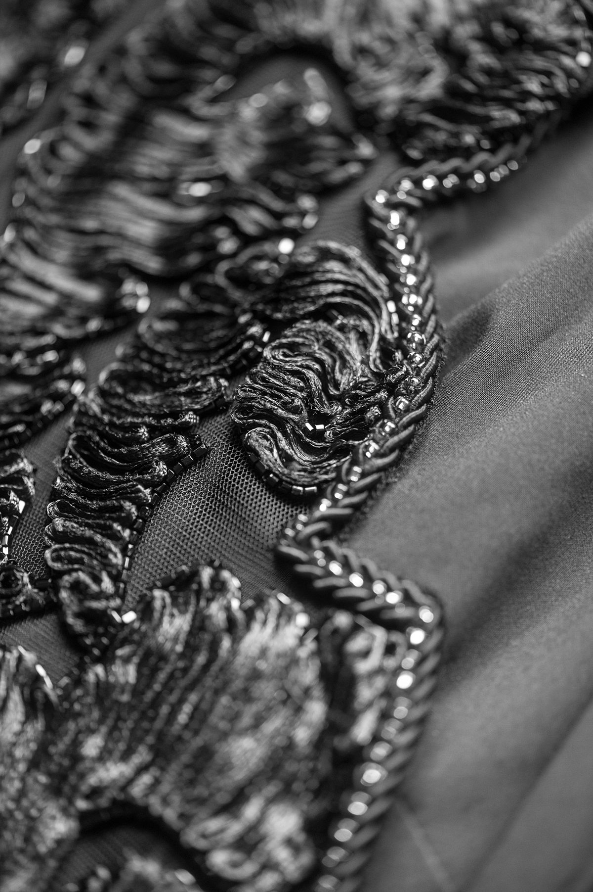 Beading detail of a black gown