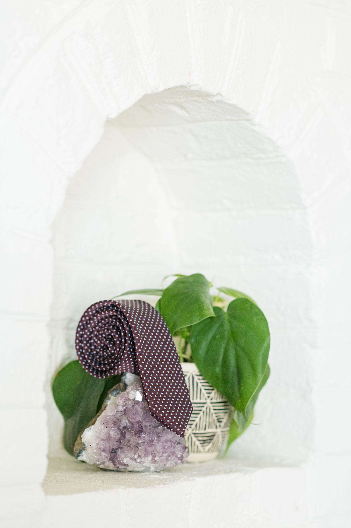 Purple tie rolled up next to a green plant and piece of purple amethyst gemstone.