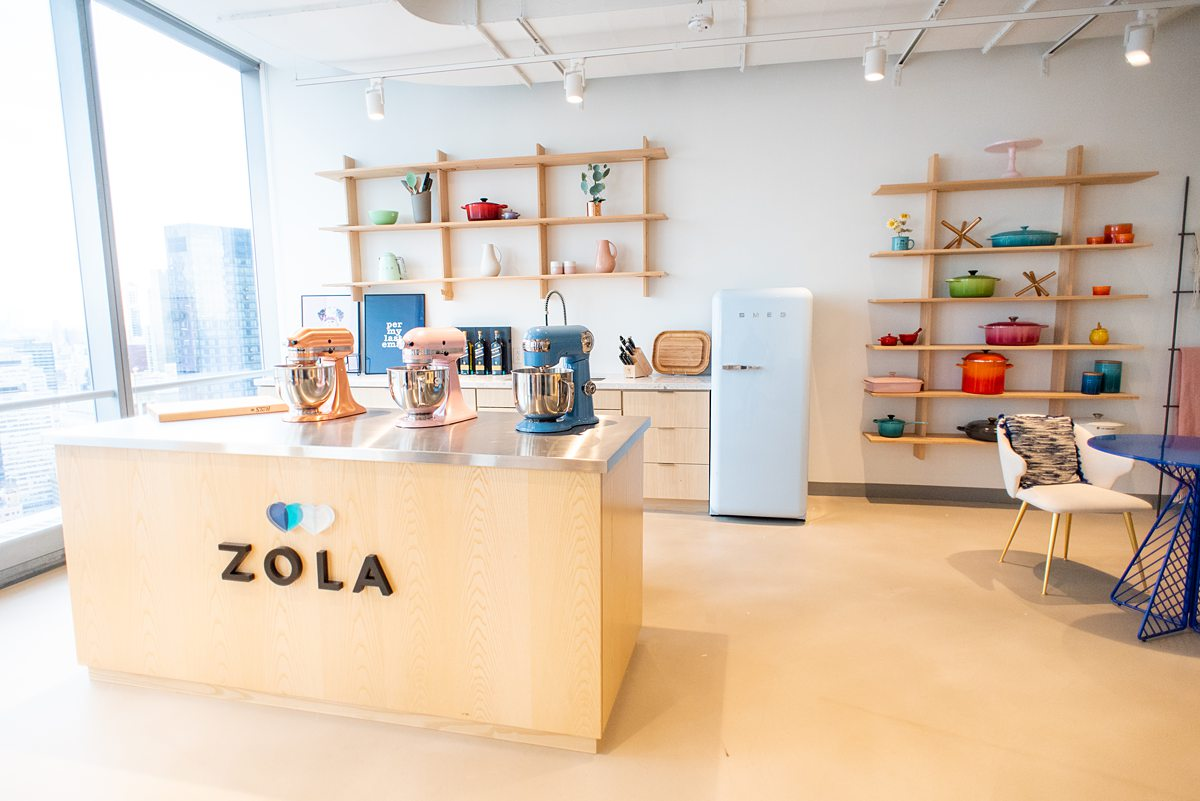 Zola Headquarters has a demo kitchen and room! We take a look behind the scenes of the wedding website and app HQ in NYC, with Mikkel Paige Photography.